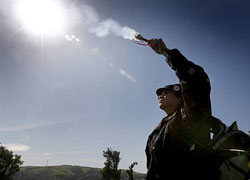 Wounded Knee DeOcampo burns sage to bless the Ohlone village site at Glen Cove